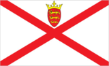 Flagge des Landes Jersey mit der Top-Level-Domain . je